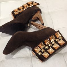 Dereon ankle boots. Brown studded. Worn once. Back zipper. Excellent condition. Brown suede with gold studs. Stylish Dereon Shoes Ankle Boots & Booties