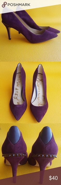 "Sam Edelman Tonia NWOT Sam Edelman Tonia Spike Rand Pointy Toe Pump ||| A rand of enameled spikes along the heel ||| Color-port wine ||| kid suede leather ||| 3"" heel 