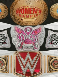 The past to current women's championship belts of WWE.