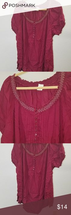 3 for 13 - - 2x maroon faded glory blouse euc Excellent condition.  No holes or stains.  Rayon. Machine washable.   Armpit to armpit 25.6 Length 28 a17 Faded Glory Tops Blouses