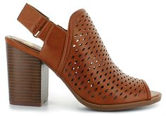 Sleek and Stylish Chelsea Moreland® Maddie:<br/>smooth faux-leather upper, laser-cut accents for style, adjustable back strap for an easy on and off, peep-toe construction, lightly padded insole, synthetic outsole, 3-inch block heel