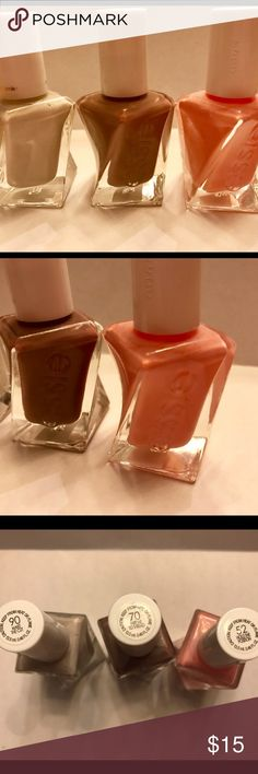 3 Essie Gel Nail Polishes I have 3 bottles of Essie's new gel nail polish. It does not require a light, just the top coat. I have only used each color once. The colors of the polish from left to right are 90 Make the Cut, 70 Take Me to Thread, and 52 Hold the Position. essie Other
