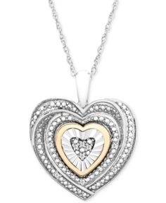 acca62fb160b Macy s Diamond Accent Two-Tone Heart Pendant Necklace in Sterling Silver  and 10k Gold Jewelry   Watches - Necklaces - Macy s