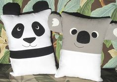 """Make a cuddly Panda and Koala Pillow with an optional pocket on the front or back perfectly sized for the Tooth Fairy. This smaller sized pillow is just right for toddlers or as an accent pillow for any age. Also included are instructions to make sweet Panda and Koala Babies that fit into the pockets. Or make them as ornaments. Pillow is approximately 9 1/2 high x 7 wide (not including ears) Felt Babies are 2 ½"""" high x 1 ¾"""" wide  These pillows make an excellent sleep companion for small ..."""