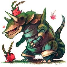 Aggron and hoppip cool steel and cute grass pokemon garden