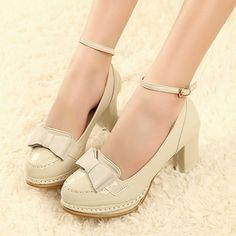 Bowtie Design Ankle Strap PU Beige Chunky Heels