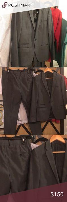 Topman Grey Wool Blend Skinny Suit 36/30 Topman Skinny suit - Grey wool blend.  Bought new, worn twice.   Excellent condition. Topman Suits & Blazers Suits