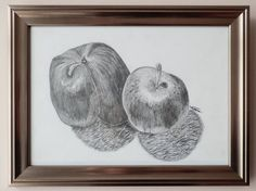 "ORIGINAL Framed Signed Still Life Drawing of Apples in Pencil by VLGStudios This drawing is entitled ""∏ (Pi)"".   Completed in September 2010 as a part of still-life study of fruit and veg, it depicts two cooking apples on a breakfast table."