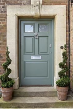 beige house front door paint color schemes  | Above image:Front door in Card Room Green 79 by Farrow and Ball