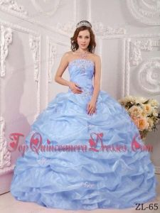 Exclusive Ball Gown Strapless Floor-length Organza Appliques Lilac Quinceanera Dress