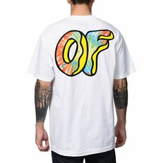 Forget the classic white tee and grab the Odd future Awesome Donut white tee shirt. This standard fit guys short sleeve tee shirt features a custom Odd Future OF donut logo screen print graphic at the left sleeve and a larger OF donut graphic at the back, and a tagless design for extra comfort the OFWGKTA crew would approve of. Add some awesome and out of this world style to your wardrobe with the Odd Future Awesome Donut white tee shirt.