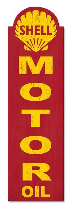 10e3eb2b58b1 Shell Motor Oil Sold Here Grunge Sign 30 x 8 USA Made Powder Coated Steel  Vintage Style Retro Gas Oil Garage Art Wall Decor SHL255