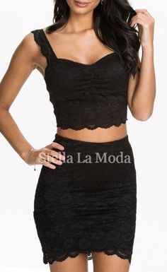 Be sexy, curvaceous and charming in this Black Sexy Lace Skirt Set! Its cropped top and package hip skirt reveals you a voluptuous figure, stretch lining with precious lace overlay and any lady in this wholesale skirt set is irresistible and sure to make the shyest guy come out of shell.