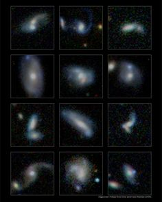Large Galaxies Gain Size by Merging with Smaller Neighbors - Some of the many thousands of merging galaxies identified within the GAMA survey. Credit: Professor Simon Driver and Dr Aaron Robotham, ICRAR.