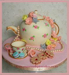 Vintage Teapot Cake with handmade sugar trinkets ~