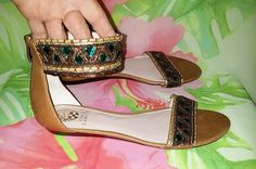 Woman's VINCE CAMUTO BROWN GRECIAN GLADIATOR STYLE LEATHER JEWELLED SANDALS 8.5M #VinceCamuto #Gladiator #Any