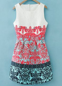 Red Round Neck Sleeveless Floral Jacquard Dress -SheIn(Sheinside)