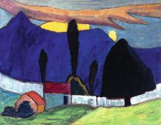 Gabriele Münter: Landschaft mit weißer Mauer, 1910. Öl auf Kartonage, 50 × 65 cm; Courtesy of Institut für Kulturaustausch, Tübingen. Bildrecht, Wien 2015