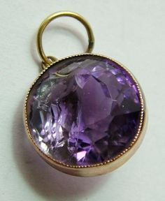 Edwardian 9ct Rose Gold & Faceted Amethyst Charm Pendant - Antique Charm - Sandy's Vintage Charms - 1