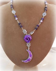The Amethyst Moon  Filigree necklace. wiccan jewelry,pagan,witch,wicca,metaphysical,new age,wedding,Bride,Handfasting. $29.99, via Etsy.