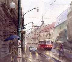 Andy Shore   WATERCOLOR  Red Tram On A Rainy Day In Prague