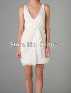 short chiffon demure V-neckline sheath wedding dresses with drapes $69.00