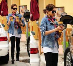 Jessica Alba - vibrant scarf, denim jacket, white top, black leggings