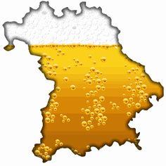 Bayern mit Bier - Bayer das gr��te Bundesland von Deutschland mit seinen Weltbekannten Oktoberfest als Umriss mit Bier gef�llt.