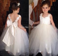 $53-2016 White Ivory Lovely  V Neck Two Straps Appliques Tulle Ball Gown Flower Girls Dresses For Weddings With Satin Ribbon First Communion Dresses