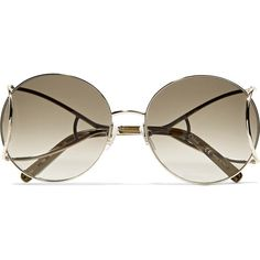 Chloé Jackson round-frame gold-tone sunglasses (362 AUD) ❤ liked on Polyvore featuring accessories, eyewear, sunglasses, gold, square glasses, chloe sunglasses, retro glasses, round sunglasses and round frame sunglasses