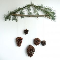 A simple tutorial for making your own pine cone ornaments, including instructions on how to make a pine cone mobile from  wire hanger.