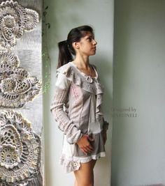 Gray and Beige Tunic Dress Boho Chic Dress Woman Mini by MARTINELI, $127.00