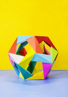 size: Photographic Print: Modular Origami Sculpture on Colorful Background by Mimi Haddon : Cool Abstract Art, Abstract Images, Best Titles, Modular Origami, Origami Easy, Still Life Drawing, Sketchbook Pages, Color Studies, Background S