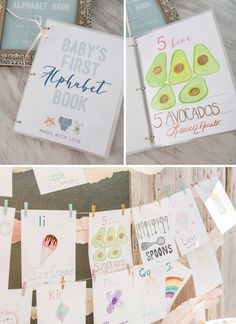 This FREE Printable Baby's First Alphabet Book Is The Cutest! - Everythink for Babyshower Abc Baby Shower, Baby Shower Crafts, Shower Bebe, Virtual Baby Shower, Baby Shower Activities, Baby Shower Printables, Baby Shower Parties, Baby Showers, Shower Games