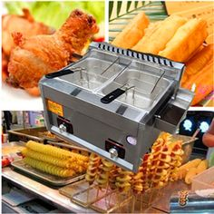 113.05$  Buy here - 2016 Hot sale potato chip gas fryer delicious fried chicken gas frying machine double-cylinder deep fryer  ZF  #magazineonline