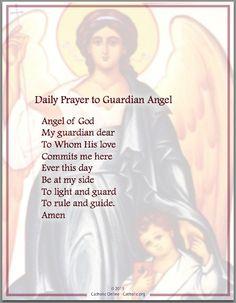 Daily Prayer to Guardian Angel - Prayers - Catholic Online Prayer Verses, Prayer Book, Faith Prayer, God Prayer, Prayer Quotes, Rosary Prayer, Rosary Catholic, Bible Quotes, Guardian Angel Prayer Catholic