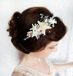 seashell wedding headband starfish headpiece by thehoneycomb Seashell Wedding, Beach Wedding Hair, Seaside Wedding, Wedding Headband, Mermaid Wedding, Nautical Wedding, Mermaid Hair, Hawaii Wedding, Our Wedding