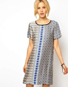 Tile-print t-shirt dress at ASOS. Love how cute and comfortable it looks!