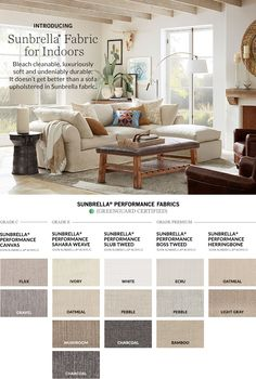 Introducing Sunbrella® Fabric for Indoors Clean Sofa Fabric, Clean Couch, Sunroom Furniture, Living Room Furniture, Home Furniture, Sofa Styling, Living Room Sofa, Living Rooms, House Inside
