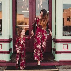 Mama And Daughter Dresses Wine Floral Mom And Kids Long Dress Family Matching Clothes Mommy Me Outfits Baby Girls Vestidos 2019 Mommy And Me Dresses, Baby Girl Dresses, Girl Outfits, Baby Girls, Baby Twins, Baby Baby, Dress Outfits, Mom Dress, Dress Girl
