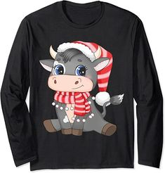 Amazon.com: Christmas Cow Creative Design for new Year 2022 Long Sleeve T-Shirt : Clothing, Shoes & Jewelry