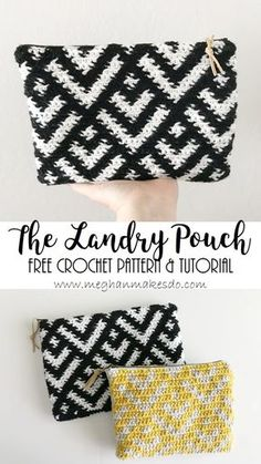 The Landry pouch - crocheted outer sewn with lining and zipper. Instrux for pattern & assembly in 2 sizes.