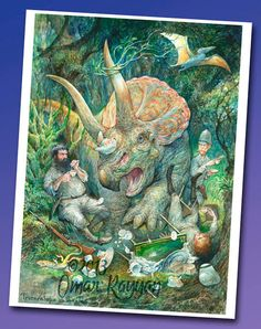 Triceratops in the Tea mini print by StudioRayyan on Etsy, $7.00