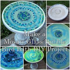 This simple tutorial of how to make a mosaic glass bubble bird bath DIY project is a great way to upgrade an old cement broken birdbath. It can create a pl