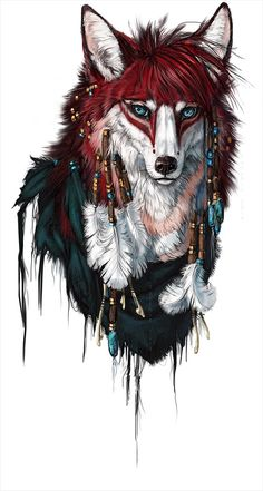 26 Ideas tattoo animal wolf illustrations for 2019 Fantasy Creatures, Mythical Creatures, Fantasy Kunst, Fantasy Art, Animal Drawings, Art Drawings, Anime Wolf, Fox Art, Native American Art
