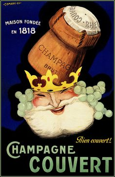 Champagne Couvert 1923 King of Champagnes Vintage Poster Art Print Retro Style French Advertising Free US Post Low EU post by CharmCityPosters on Etsy