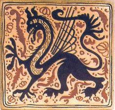 """Cerámica Artística Valencia – Azulejos y Gres - Azulejo Medieval """"Socarrat"""" - Azulejo Socarrat - Dragon"""