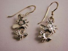 UFS Peanuts Joe Cool Snoopy Woodstock Bird Solid Sterling Silver .925 Earrings