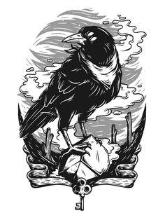 I'msomretic // Monocrowmatic by Christi du Toit, via Behance - Art Attack Art And Illustration, Animal Illustrations, Illustrations Posters, Crows Drawing, Desenho Tattoo, Art Reference, Vector Art, Concept Art, Cool Art
