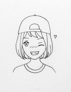 30 Easy Anime Girl Drawing Ideas Crying Girl Drawing, Smile Drawing, Girl Face Drawing, Anime Girl Drawings, Drawing Stuff, Drawing Ideas, Art Drawings Sketches Simple, Love Drawings, Easy Drawings